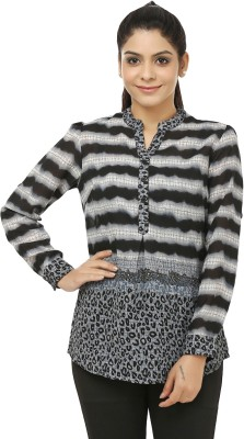 Jappshop Casual Full Sleeve Striped Women's Grey, Black Top