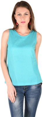 Anasazi Casual Sleeveless Solid Women's Blue Top