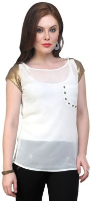 Pannkh Casual Short Sleeve Solid Women's White Top