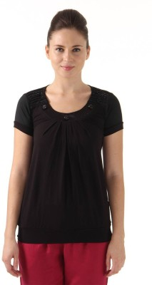 Monte Carlo Casual Short Sleeve Solid Women's Black Top