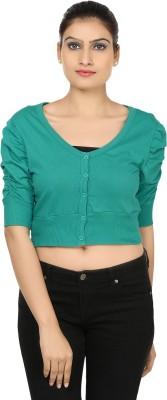 Haniya Casual 3/4 Sleeve Solid Women's Green Top
