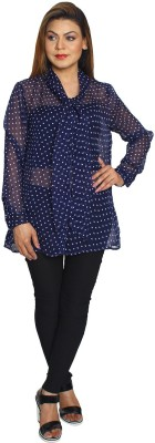 Fayona Casual Full Sleeve Printed Women's Blue Top
