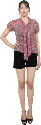 E Syrus Casual Sleeveless Printed Women,s Pink Top