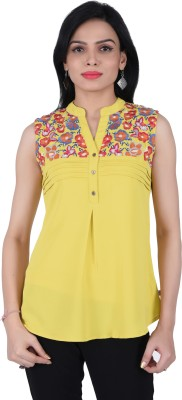 JUNIPER Casual Sleeveless Embroidered Women's Yellow Top