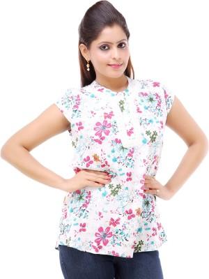 Kashana Fashions Casual Short Sleeve Floral Print Women's White Top