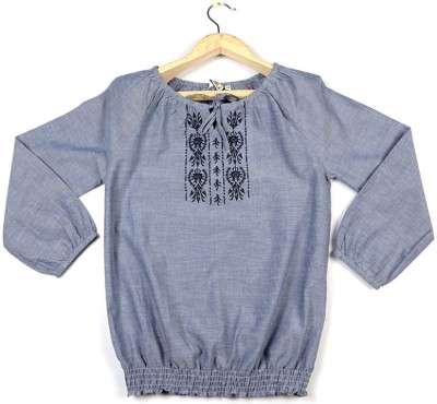 People Casual 3/4 Sleeve Embroidered Girl's Grey Top