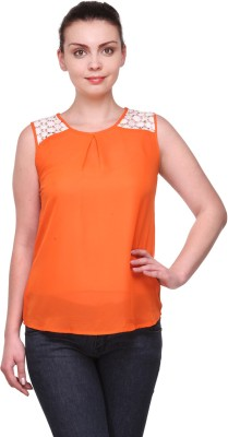 Kami Party Sleeveless Solid Women's Orange Top
