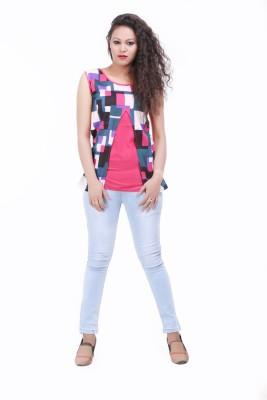 LOUISE BERRY Casual Sleeveless Geometric Print Women's Pink Top