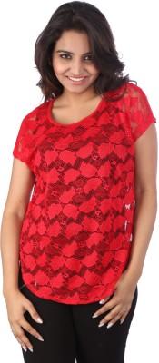 Go4it Casual Short Sleeve Self Design Women's Black, Red Top