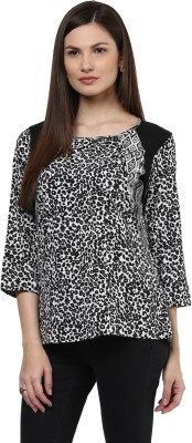 Shakumbhari Casual 3/4 Sleeve Printed Women's Black Top