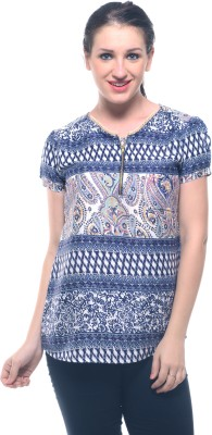 Lynda Casual Short Sleeve Printed Women's Blue, White Top