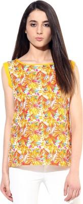 JaipurKurti Casual Sleeveless Floral Print Women's Yellow Top