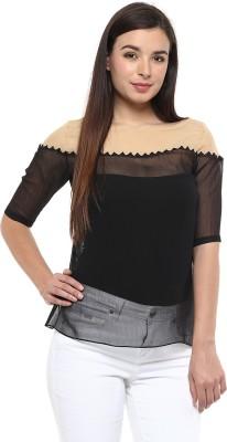 Pinwheel Casual Short Sleeve Embroidered Women's Black, Beige Top