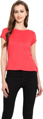 MSMB Casual Short Sleeve Solid Women's Pink Top