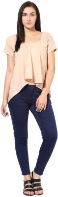 La Firangi Casual Short Sleeve Solid Women's Beige Top at flipkart