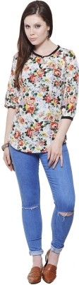 Fugue Casual 3/4 Sleeve Printed Women's Multicolor Top