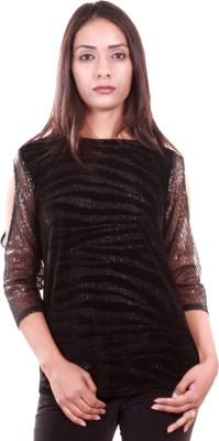AR2 Party 3/4 Sleeve Embroidered Women's Black Top