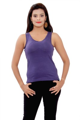 SML Casual Sleeveless Solid Women's Purple Top