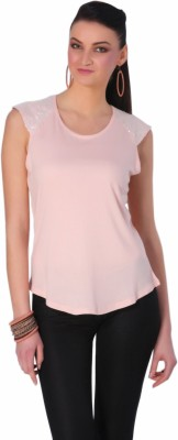 Rediscover Fashion Casual Short Sleeve Solid Women's Pink Top