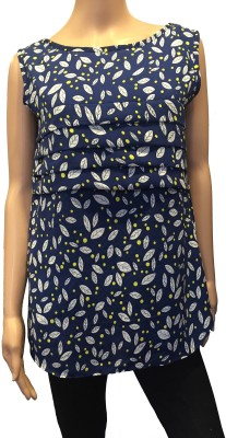 FASIION Casual Sleeveless Floral Print Women's Blue Top