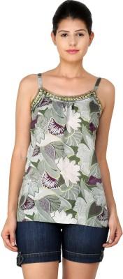 StyleToss Casual Sleeveless Printed Women's Green Top