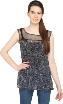 Ten on Ten Party Sleeveless Printed Women's Grey Top
