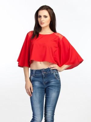 Schwof Party Short Sleeve Solid Women's Red Top