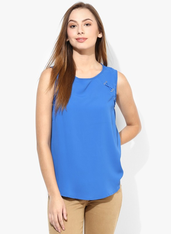 Vero Moda Casual Sleeveless Solid Women's Blue Top