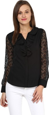 Rare Casual Full Sleeve Solid Women,s Black Top