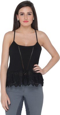 Pepperika Casual Sleeveless Solid Women's Black Top