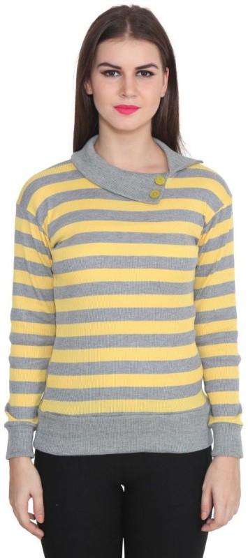 TeeMoods Casual Full Sleeve Striped Women's Yellow, Grey Top