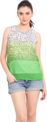 Trend Arrest Casual Sleeveless Printed Women's Green Top