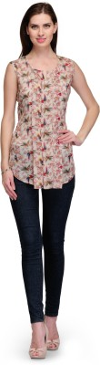 7Soft Colors Casual Sleeveless Printed Women's Brown Top
