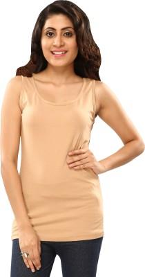 Hbhwear Casual Sleeveless Solid Women's Beige Top