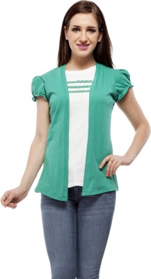 Peptrends Casual Puff Sleeve Solid Women's Green Top
