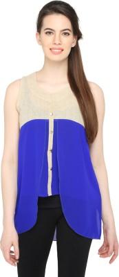 Ten on Ten Party Sleeveless Solid Women's Blue Top