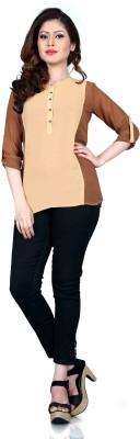 Aasvaa Casual 3/4 Sleeve Solid Women's Beige Top