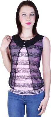 Zavi Casual Sleeveless Printed Women's Pink, Black Top