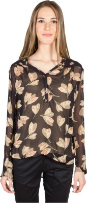 My Addiction Casual Full Sleeve Printed Women's Beige, Black Top