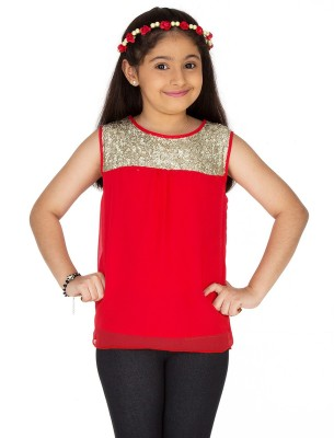 Ventra Casual Sleeveless Solid Girl's Red Top