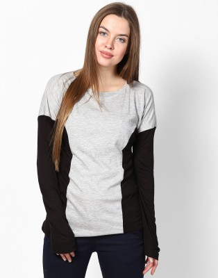 Athena Casual Full Sleeve Solid Women's Grey, Black Top at flipkart
