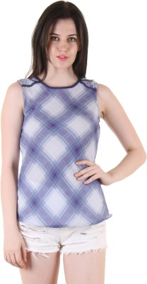 SS Casual Sleeveless Printed Women's Blue Top