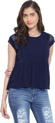 Ama Bella Casual Short Sleeve Solid Women's Dark Blue Top
