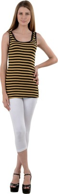 NumBrave Casual Sleeveless Striped Women's Beige Top