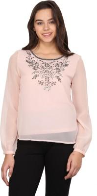 Nordic Bazaar Casual Full Sleeve Embellished Women's Pink Top