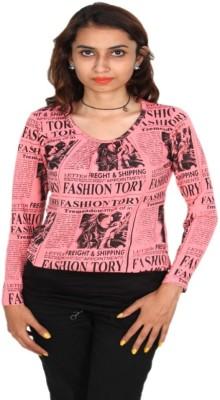Vanya Enterprises Casual Full Sleeve Printed Women's Pink, Black Top