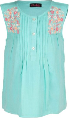Chicabelle Casual Sleeveless Embroidered Girl's Green Top