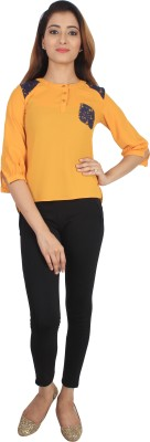 Su&Jay Casual 3/4 Sleeve Solid Women's Yellow Top