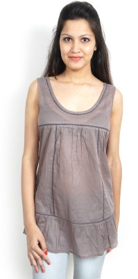Bay & Blue Casual Sleeveless Solid Women's Grey Top