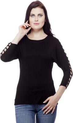Franclo Casual 3/4 Sleeve Solid Women's Black Top